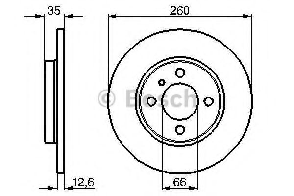 BOSCH Диск тормозной перед. BMW E30 1,6/1,8i (260*12,5) BOSCH арт. 0986478029