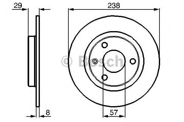 BOSCH CITROEN Тормозной диск передний AX,Saxo,Peugeot 106 86- BOSCH 0986478246