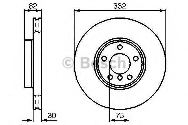 Тормозной диск BMW X5(E53) 05.2000- ПЕРЕДН. (пр-во Bosch)                                            BOSCH 0986478974