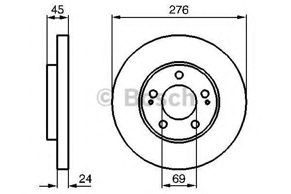 BOSCH  тормозной диск пер. Mitsubishi Space Wagon -04 BOSCH 0986479035