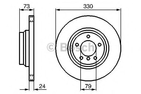 BOSCH  Диск тормозной пер. BMW E90 320-330 (330*24) BOSCH 0986479215