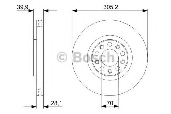 BOSCH  Тормозной диск пер. ALFA 159, FIAT 500 BOSCH 0986479291