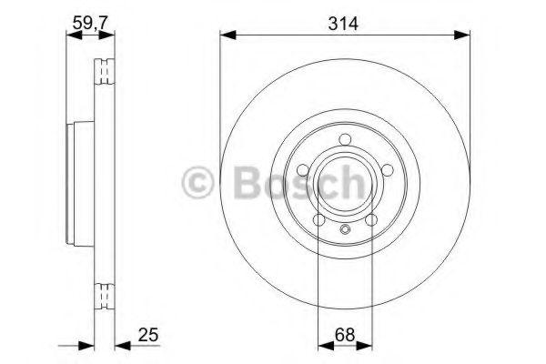 Диск гальмiвний переднiй Audi A6 2.0/2.7 Tdi Avant 04- BOSCH 0986479301