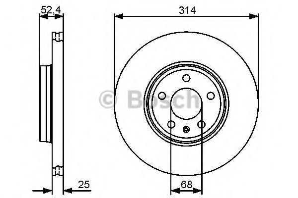 BOSCH AUDI Диск тормозной передний (314мм) A4 07-, A5. BOSCH 0986479467