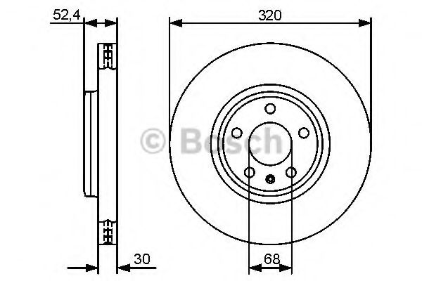BOSCH AUDI Диск тормозной передний (320мм) A4 07-, A5. BOSCH 0986479468