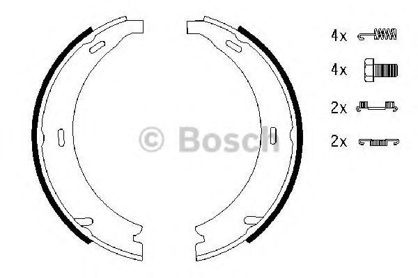 Колодка торм. барабан. стоян. торм MERCEDES E-CLASS (W210) C-CLASS (W202) (пр-во Bosch)              BOSCH арт. 0986487543