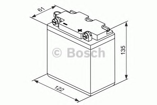 6V ,12Ah,д. 122, ш. 61, в.135, объем 0,3л., вес 2 кг,без электролита BOSCH 0092M4F120