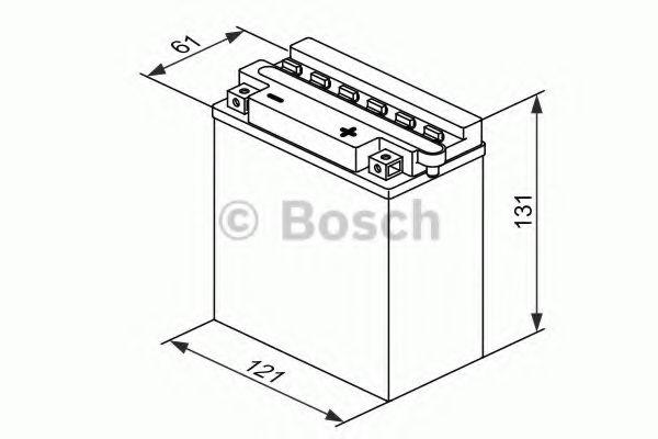 12V,5Ah,д. 121, ш. 61, в.131, объем 0,4, вес 2 кг,без электролита BOSCH 0092M4F180