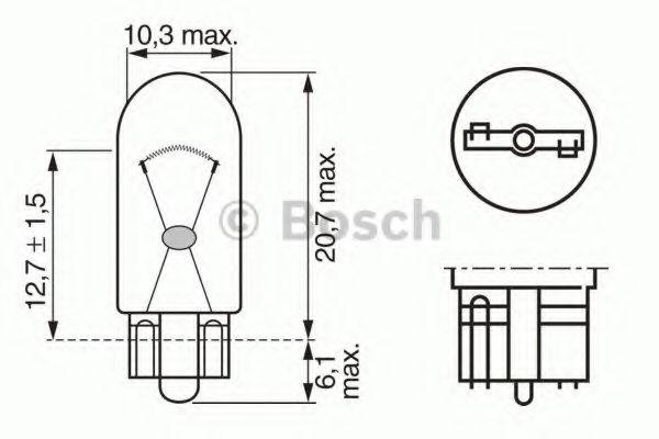 Лампа накаливания W5W 12V 5W W2,1X9,5d PURE LIGHT (пр-во Bosch)                                      в интернет магазине www.partlider.com