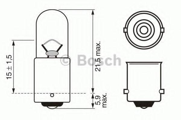 Лампа накаливания 12V 4W T4W PURE LIGHT (пр-во Bosch)                                                 арт. 1987302207