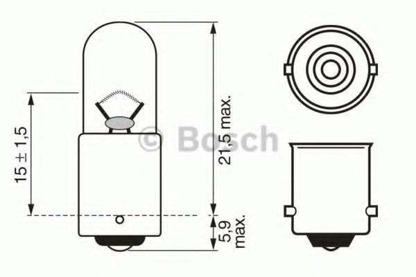 Автомобильная лампа T4W 12V W-V  арт. 1987302207