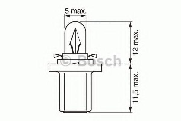 Лампа накаливания 12V 1,2W B8,5d  PURE LIGHT (пр-во Bosch)                                           в интернет магазине www.partlider.com