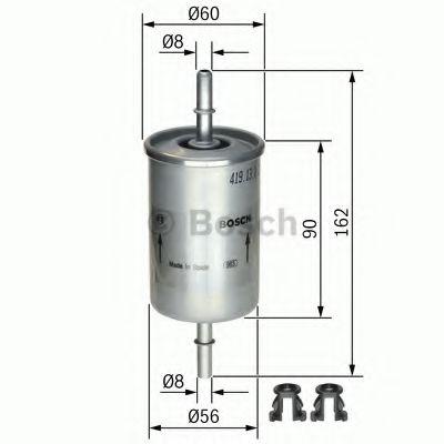 BOSCH (LV) F5273 H=162mm Фильтр топливный DAEWOO Lanos, Sens.Nubira OPEL SEAT VW (на защелках) BOSCH 0450905273