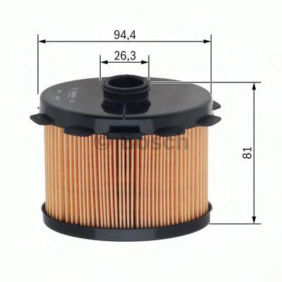 BOSCH ,N1703 H=81mm Фильтр топливный диз.вкладыш (овал) PEUGEOT 1,9D: в т.ч.Partner, Expert 98- BOSCH 1457431703