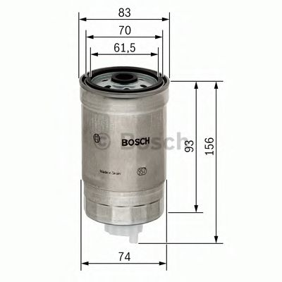 BOSCH ,N4106 H=157mm Фильтр топливный диз.(вкруч-ся) AUDI VW CITROEN FIAT IVECO OPEL PEUGEOT VOLVO BOSCH 1457434106