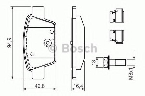 BOSCH  FIAT Тормозные колодки задние STILO, BRAVO 1.2 16V-2.4 20V 01- BOSCH 0986494030
