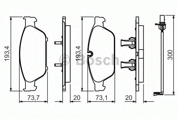BOSCH  тормозные колодки пер. AUDI A6/A8 11- BOSCH 0986494447