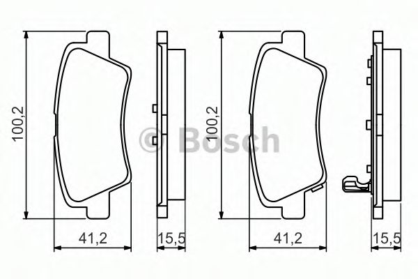 Колодка торм. HYUNDAI ACCENT IV, SONATA V задн. (пр-во Bosch)                                         арт. 0986494557