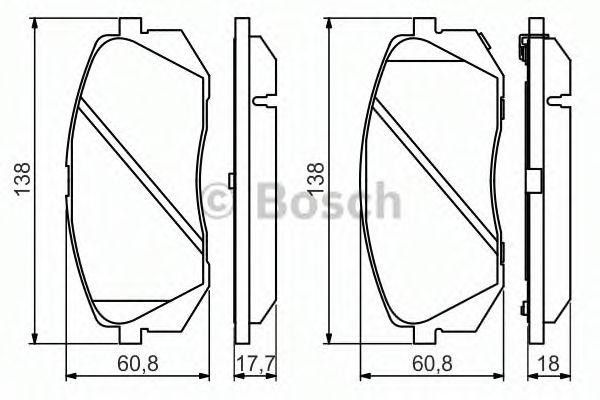 BOSCH  KIA Тормозные колодки передн.Carens III,Sportage,Hyundai ix35,55 05- BOSCH 0986494559
