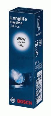 Лампа накаливания W5W 12V 5W W2,1X9,5d LONGLIFE DAYTIME (пр-во Bosch)                                 арт. 1987302286