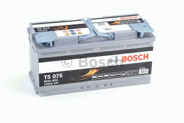 Аккумулятор  105Ah-12v BOSCH AGM (S5A15) (394х175х190), R, EN 950