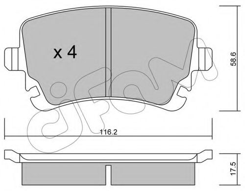 Колодка торм. AUDI, VW T5 задн. (пр-во Cifam)                                                        CIFAM 8225542