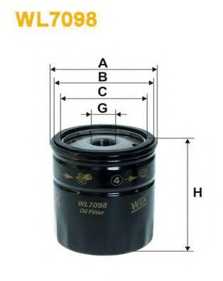 Фильтр масляный OPEL CORSA WL7098/OP551 (пр-во WIX-Filtron)                                           арт. WL7098