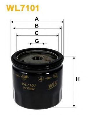 Фильтр масляный CITROEN WL7101/OP554 (пр-во WIX-Filtron)                                              арт. WL7101