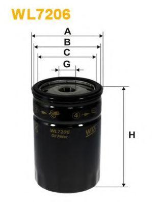 Фильтр масляный ALFA ROMEO 155, 164 WL7206/OP644 (пр-во WIX-Filtron)                                  арт. WL7206