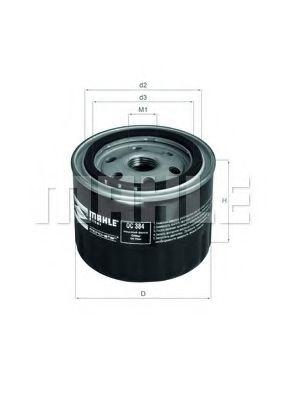 Фильтр масляный ВАЗ 2101-2107, 2108-09 (низкий 72мм) (пр-во KNECHT-MAHLE)                             арт. OC384