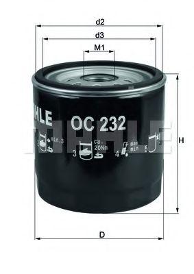 Фильтр масляный двигателя TRANSIT (пр-во Knecht-Mahle)                                                арт. OC232