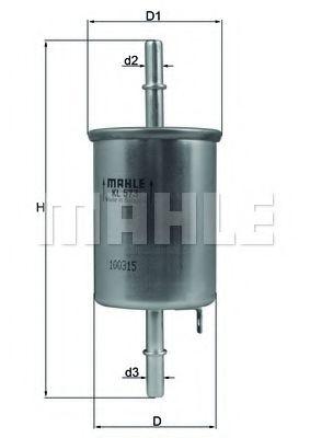 Фильтр топливный DAEWOO LANOS 97-, CHEVROLET LACETTI 05- (пр-во Knecht-Mahle)                         арт. KL573