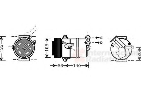 Компрессор кондиционера OPEL ASTRA H 04- (пр-во Van Wezel)                                           в интернет магазине www.partlider.com