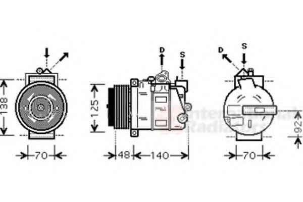 компрессор кондиционера MERCEDES C-CLASS W203  00- (Van Wezel)                                       VANWEZEL 3000K393