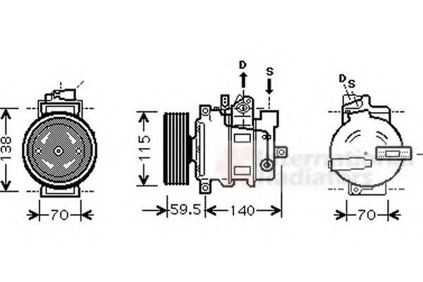 Компрессор кондиционера AUDI A6   04- (Van Wezel)                                                    VANWEZEL 0300K284