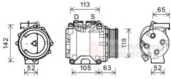 Компрессор кондиционера HONDA ACCORD 2.0-2.4i  04- (Пр-во Van Wezel)                                 в интернет магазине www.partlider.com