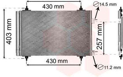Радиатор кондиционера Конденсор кондиционера P307/C4 14/16/20 MT/AT 04 (Van Wezel)                                         VANWEZEL арт. 09005230