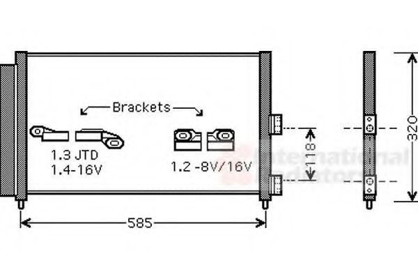 Радиатор кондиционера Радиатор кондиционера Doblo 1.3D/1.9JTD Multijet 03> VANWEZEL арт. 17005289