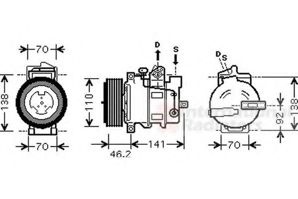 Компрессор кондиционера MERCEDES C-CLASS W203  00- (Пр-во Van Wezel)                                 в интернет магазине www.partlider.com