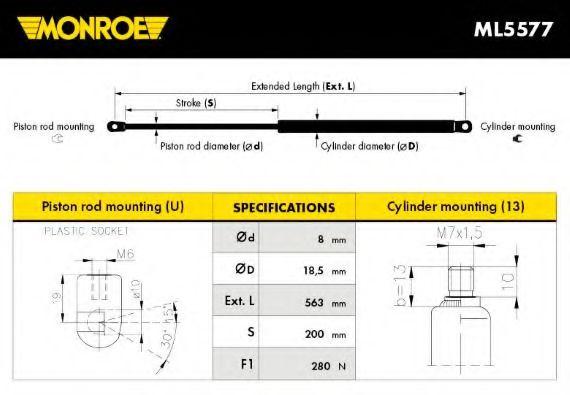 MONROE DB Амортизато газовый капота прав. W203 00- MONROE ML5577