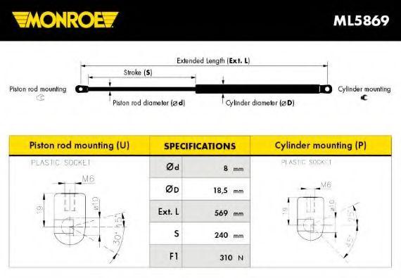Амортизатор багажника MONROE  арт. ML5869