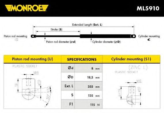 Амортизатор багажника MONROE  арт. ML5910