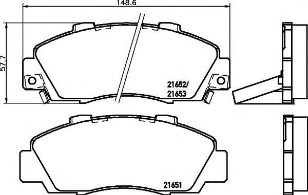 Комплект тормозных колодок, дисковый тормоз  арт. 2165101