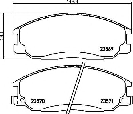 TEXTAR HYUNDAI Тормозные колодки передние SANTA FE 2.0-2.7 01- TEXTAR 2356901