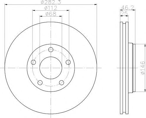 TEXTAR  VW Диск тормозной передн. PASSAT 1.9TDI 96- TEXTAR 92083603