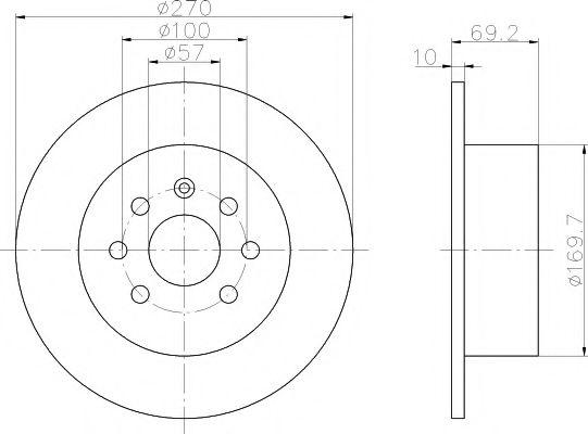 TEXTAR  OPEL Диск тормозной задний VECTRA 95- 270 10 8 TEXTAR 92075503