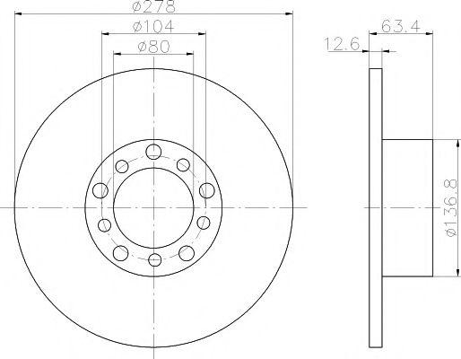 TEXTAR DB Диск тормозной пер.278*12,7 W123 -85 200-300B/D TEXTAR 92009500
