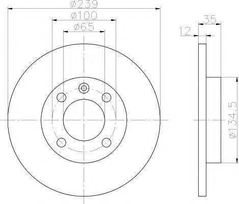 TEXTAR  VW Диск тормозной передний GOLF,IBIZA 1.5,1.6,1.8 TEXTAR 92010603