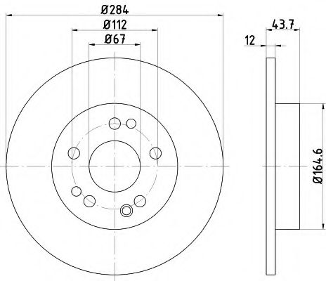 TEXTAR DB Диск тормозной пер.W124 85-93(284*12) TEXTAR 92031803