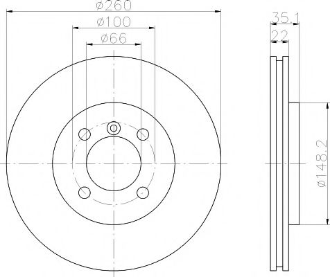 TEXTAR  Диск тормозной перед. (вентил.) BMW E30 (260*21,9) TEXTAR 92026503